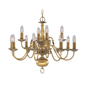 Flemish Polished Brass 12LT Ceiling Light