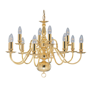 Flemish Antique Brass 12LT Ceiling Light, 1019-12PB