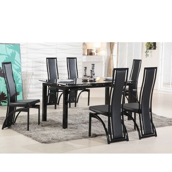 Florence Extending Black Glass Dining Table with 6 Dining