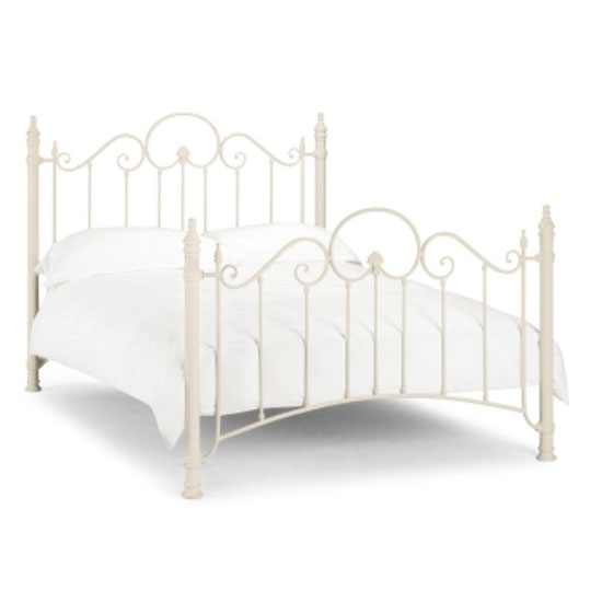 Floren Metal Double Bed In Stone White Finish