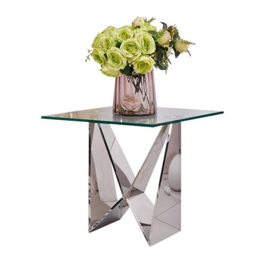 Diego Glass Side Table Square In Clear With Stainless Steel Base