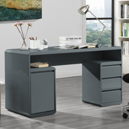 View Florentine computer desk in grey high gloss with storage