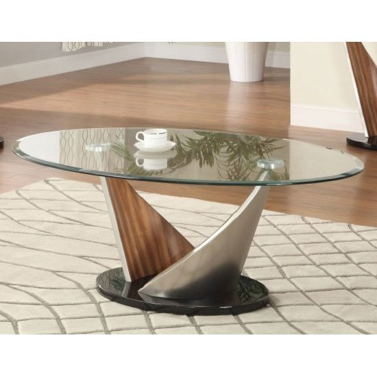 Walnut Oval Coffee Table Uk: Florence Glass Coffee Table With Walnut Satin Base 23910