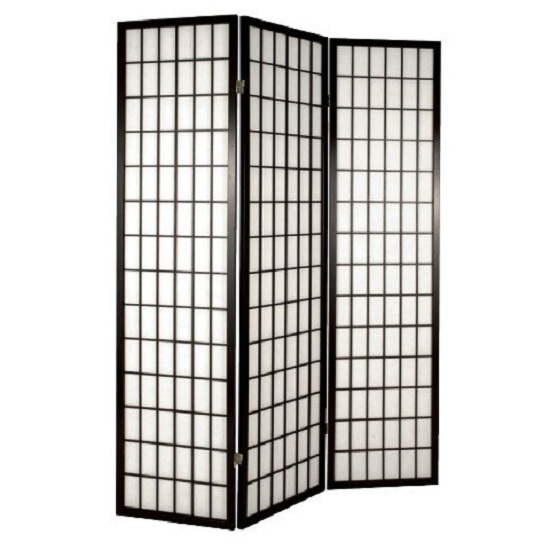Foldable Wooden Room Divider Screen In Black