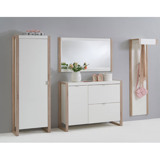 Frame Wooden Hallway furniture Set In Pear White And Oak