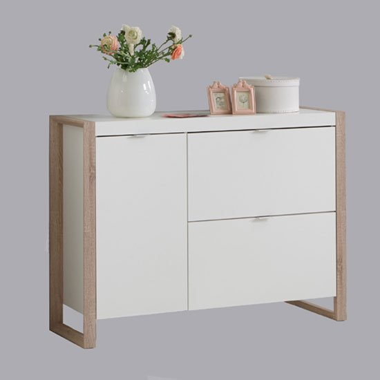 Frame7 Wooden Shoe Cabinet In Pear White And Oak Finish