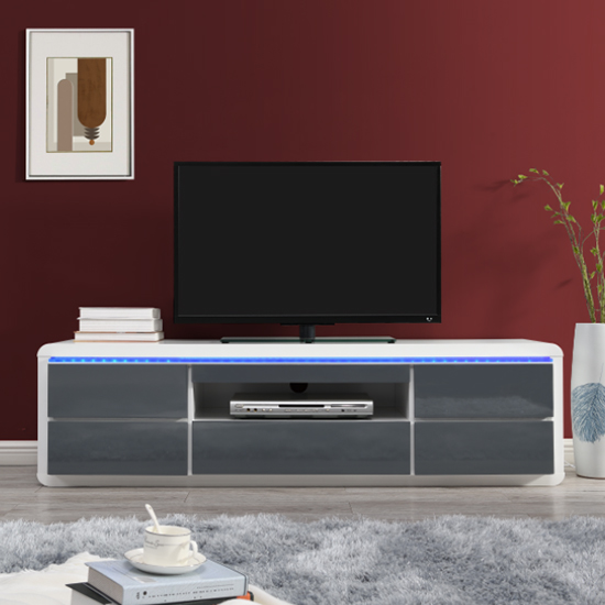 Frame Large TV Stand White Grey Gloss With LED And 5 Drawers_2