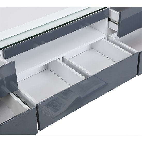 Frame Large TV Stand White Grey Gloss With LED And 5 Drawers_11