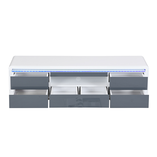Frame Large TV Stand White Grey Gloss With LED And 5 Drawers_4