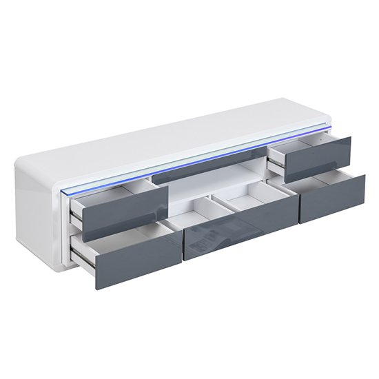 Frame Large TV Stand White Grey Gloss With LED And 5 Drawers_5