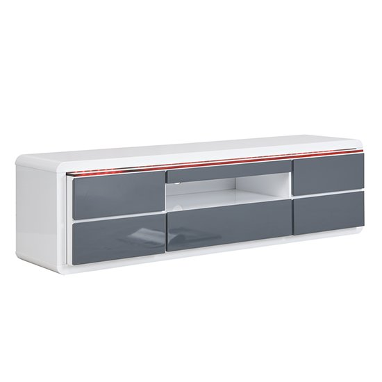 Frame Large TV Stand White Grey Gloss With LED And 5 Drawers_8