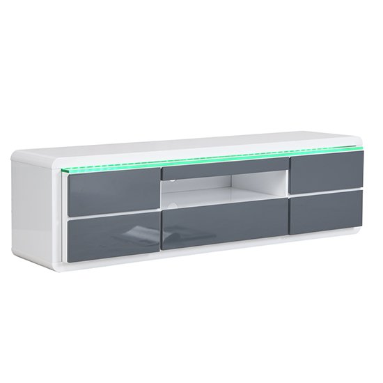 Frame Large TV Stand White Grey Gloss With LED And 5 Drawers_9