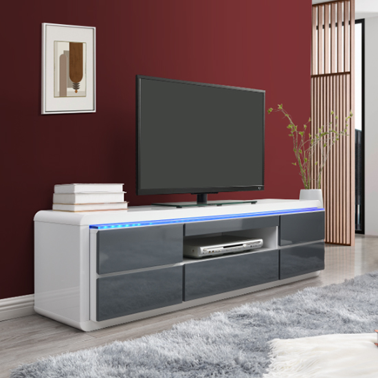 Frame Large TV Stand White Grey Gloss With LED And 5 Drawers_1