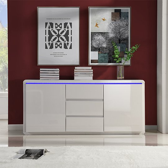 Frame Large Wooden Sideboard In White High Gloss With 2 Doors_2