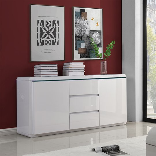 Frame Large Wooden Sideboard In White High Gloss With 2 Doors_3