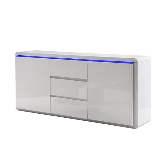 Frame Large Wooden Sideboard In White High Gloss With 2 Doors_4