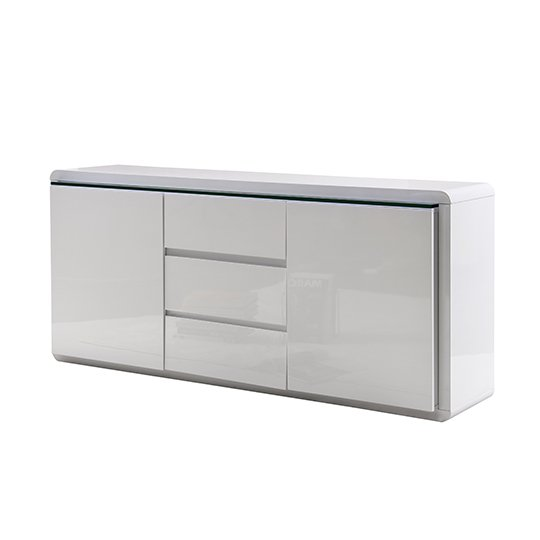 Frame Large Wooden Sideboard In White High Gloss With 2 Doors_5