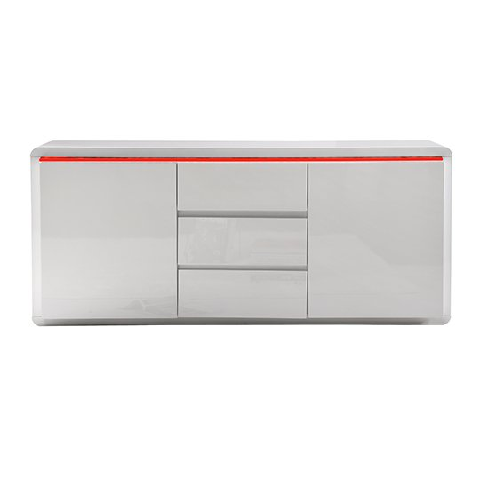 Frame Large Wooden Sideboard In White High Gloss With 2 Doors_6