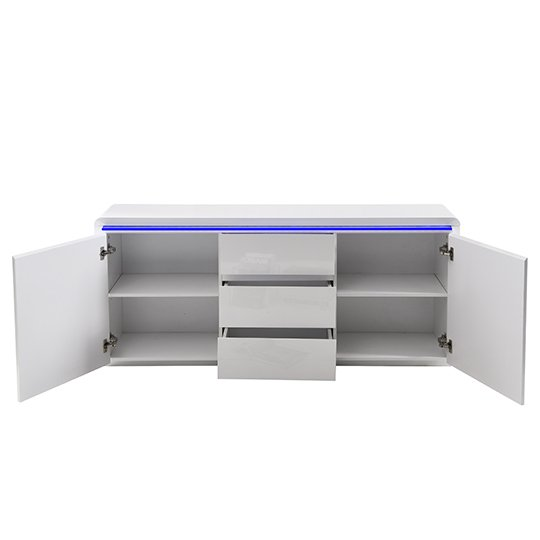 Frame Large Wooden Sideboard In White High Gloss With 2 Doors_7