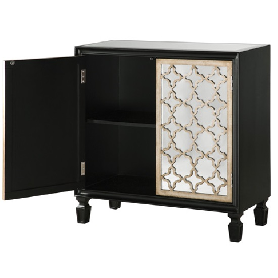 Kansas Storage Cabinet In Gloss Black With Mirrored Fronts Top_5