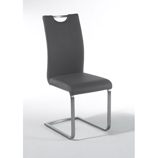 paulo grey faux leather dining chair with handle hole 22776. Black Bedroom Furniture Sets. Home Design Ideas