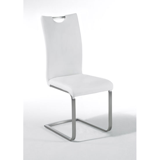 Paulo White Faux Leather Dining Chair With Handle Hole