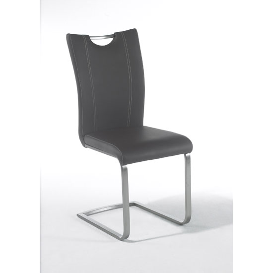 Pavo Swinging Grey Faux Leather Dining Chair With Handle Hole