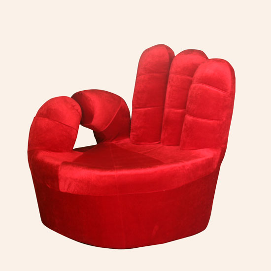 Fuji Funky Hand Shaped Novelty Chair In Deep Red Fabric