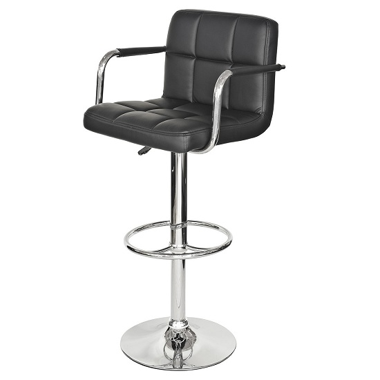 Glenn Bar Stool In Black Faux Leather With Chrome Base