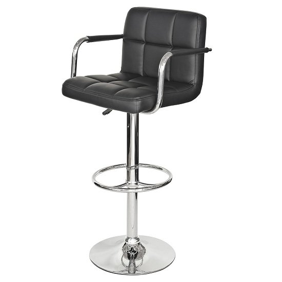 Photo of Glenn bar stool in black faux leather with chrome base