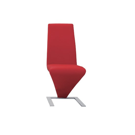 Demi Z Dining Room Chair In Red With Chrome Feet