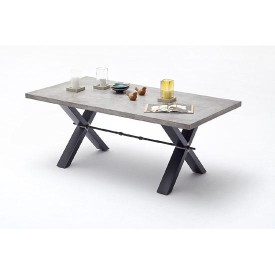 Gavi Benton Optik Stone Dining Table With Metal Legs