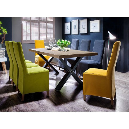 Gavi Acacia Grey Large Dining Table And 8 Casper Dining Chai