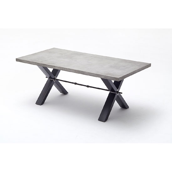Gavi Benton Optik Stone Large Dining Table With Metal Legs
