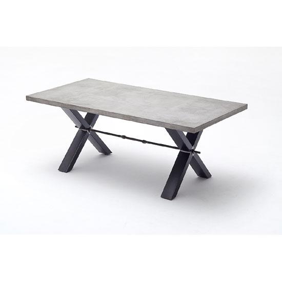Gavi Benton Optik Stone Large Dining Table With Metal Legs