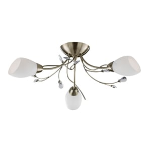 Gardenia Antique Brass 3 Light Opal