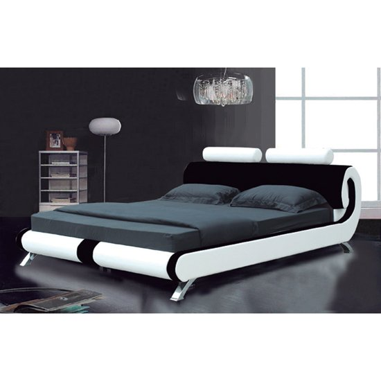 Modern Designer Italian Black and White Faux Leather Bed