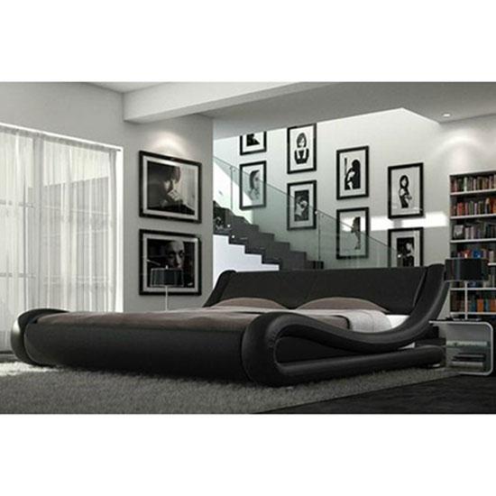 Hugo Modern Designer Italian Black Faux Leather Bed