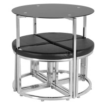 Atlas Stowaway Dining Set In Black Glass