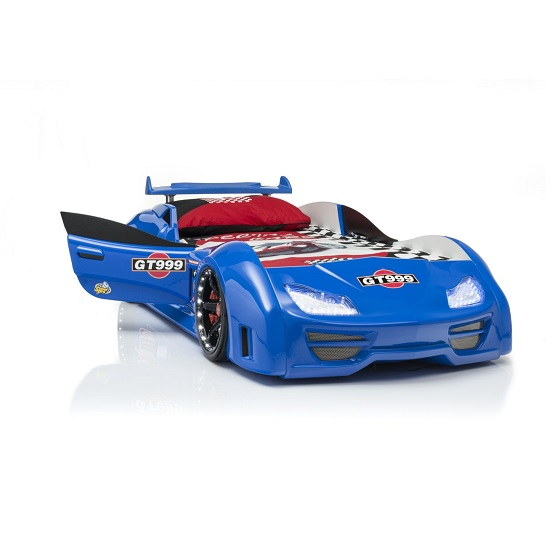 GT999 Childrens Car Bed In Blue With Spoiler And LED on Wheels