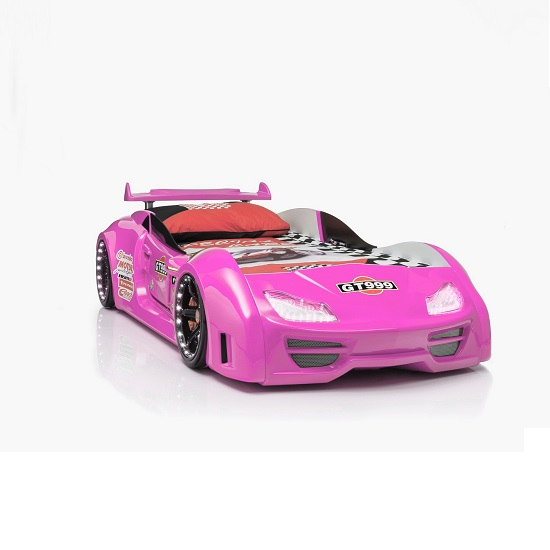 GT999 Girl's Car Bed In Pink With Spoiler And LED on Wheels