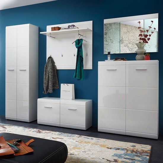 Read more about Adrian hallway set in white with high gloss fronts
