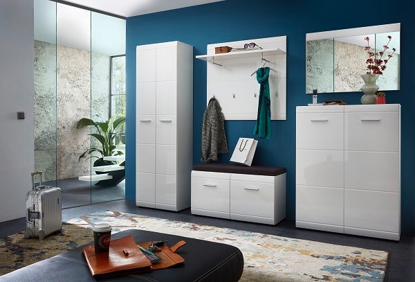 Adrian Wardrobe In White With Gloss Fronts And 2 Doors_3