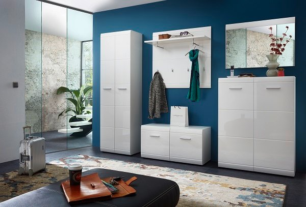 Adrian Wardrobe In White With Gloss Fronts And 2 Doors_4
