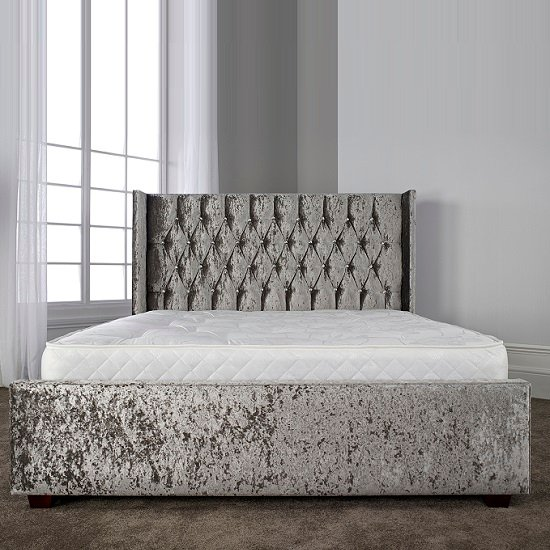 Keira Contemporary Bed In Glitz Silver With Wooden Feet_3
