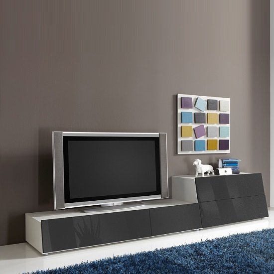 Gala White Entertainment Unit Set 2 With Grey Gloss Fronts