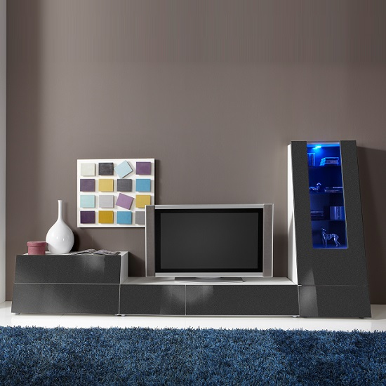 Gala Entertainment Unit Set 3 In White And Grey Gloss With LED