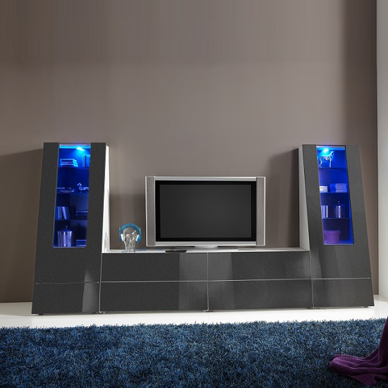 Gala Entertainment Unit Set 4 In White And Grey Gloss With