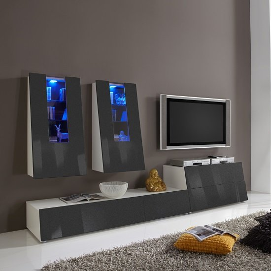 Gala Entertainment Unit Set 1 In White And Grey Gloss With LED