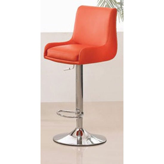 Gala Red Bar Stool In Faux Leather With Chrome Base
